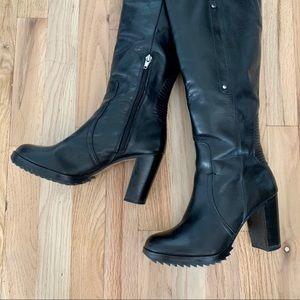 High Heel Leather Biker Boots